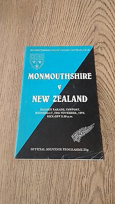 Monmouthshire v New Zealand 1978 Rugby Union Programme