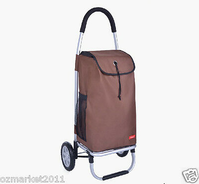 * Oxford Cloth Brown Pattern Two Wheels Collapsible Shopping Luggage Trolleys