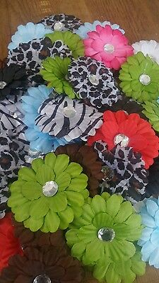 Joblot of over 50 flower hair clips with crystal centres ideal resell market