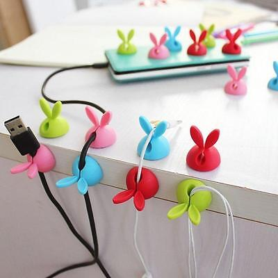 4pcs New Rabbit Cable Clip Tidy Organiser Wire Bobbin Winder Lead USB Holder