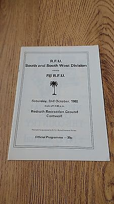 South & South West Division v Fiji 1982 Rugby Union Programme