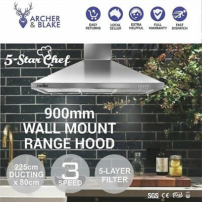 Stainless Steel 900mm Rangehood Range Hood Commercial Home Kitchen Canopy 90cm