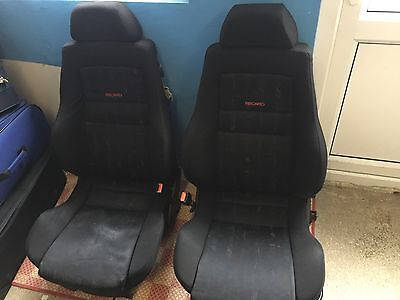 Recaro Seats Cloth Black W Red & Blue Details