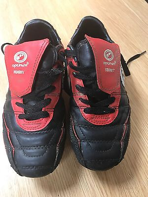 Boys Optimum Rugby Boots - Black (Red) - UK 2