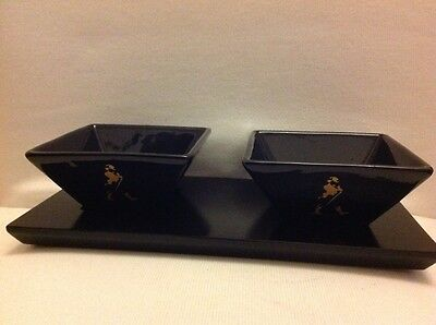 Johnnie  Walker Whisky 2 Black Ceramic Bowls On Wood Tray New