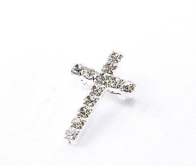 Rhinestone Cross Brooch 6Pack 5cm Baptisms Christening Confirmation Favours Gift