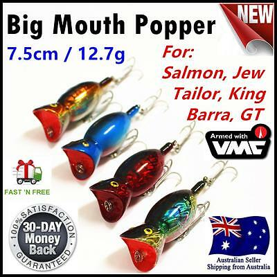 4X Fishing Big Mouth 75MM Whiting Popper Lures Bream Flathead Topwater no.523