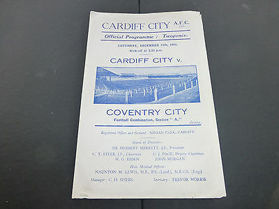 Cardiff City reserve programme. Cardiff City res v Coventry City res. 15/12/1951