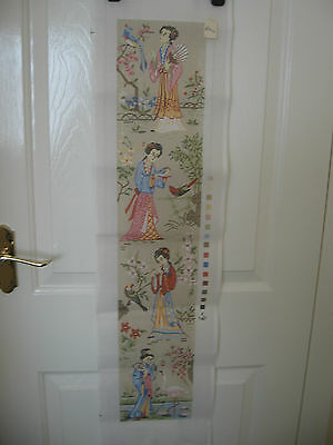 "Tapestry Painted Canvas Oriental Ladies in Garden Bell Pull 32"" by 6.25"""