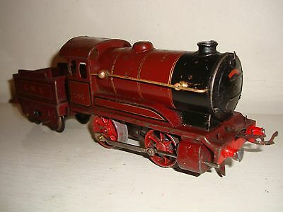 Hornby Trains O - No.0 c/w Tender Loco LMS Maroon(500)-poor to fair/unboxd c1936