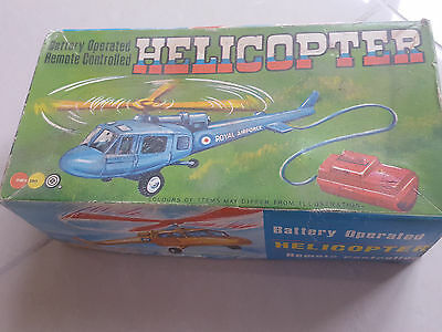 Vintage Retro Marx Toy Royal Airforce Remote Control 1960's Helicopter BLUE