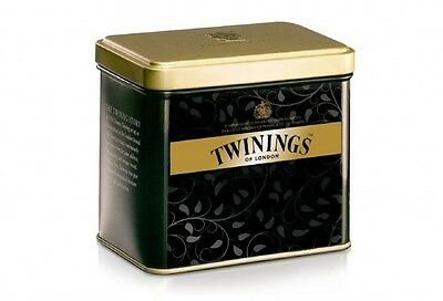 *COLLECTORS* TWININGS Tea Caddy Tin Black/Gold Swedish Sweden Collectible Rare
