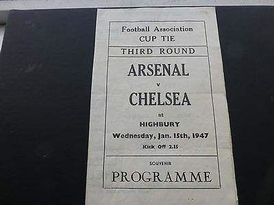 Chelsea football programme. Arsenal v Chelsea (Pirate issue) FAC 3rd rd 15/1/47