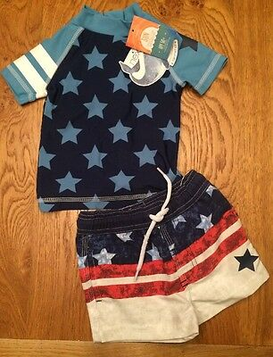 Next Boys Stars & Stripes Theme UPF 50+ Sun Protection Set ⭐️ 18-24 - BNWT