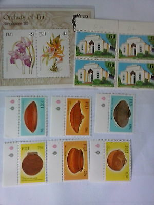 Fiji  stamps  sg 772/777 pottery    plus buildings