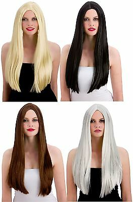 "24"" Classic Long Wigs Black Brown Fancy Dress Accessory Straight Witch Glamour"