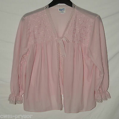 Vintage 1960s / 70s Brushed Nylon / Lace Pink Bed Jacket by Walter Read Size L