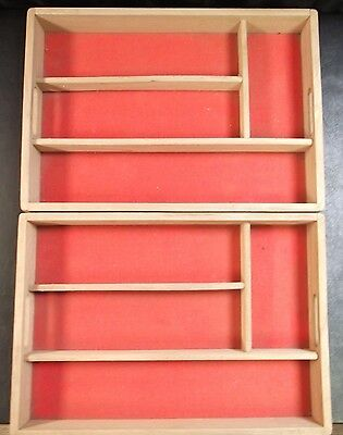 2 X Habitat Wooden Cutlery Trays With 4 Sections        To