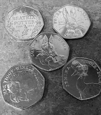 *FULL SET OF 5! RARE*  Uncirculated Beatrix Potter 50p Coins From Sealed Bags
