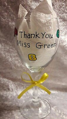 Hand Painted ABC 123 Personalised wine glass. Teacher Nursery Reception Gift.