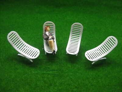 YZ3001 8pcs Model Railway Layout 1:30 Sun Loungers Beach Chairs G Scale NEW
