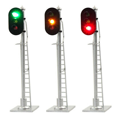 JTD873GYR 3pcs Model Railroad Train Signals 3-Lights Block Signal  HO Scale 12V