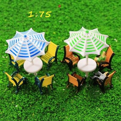 TYS30075 2 Sets Model 1:75 Sun Umbrella Parasols Leisure Chairs Bench OO Scale