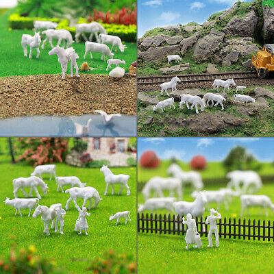 AN8701B 100pcs 1:87 UnPainted White Farm Animals Cows HO Scale