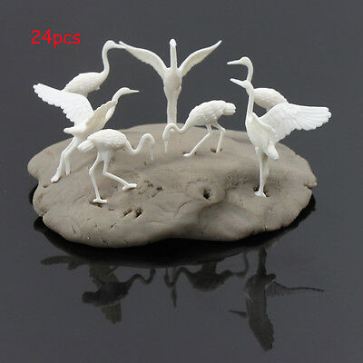 GY25050 24pcs plastic Birds Small figure Toy Red-crowned Crane 1:50 O Scale New