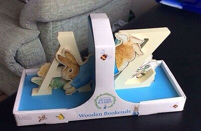 Peter Rabbit Wooden Bookends From M&S New In Pack