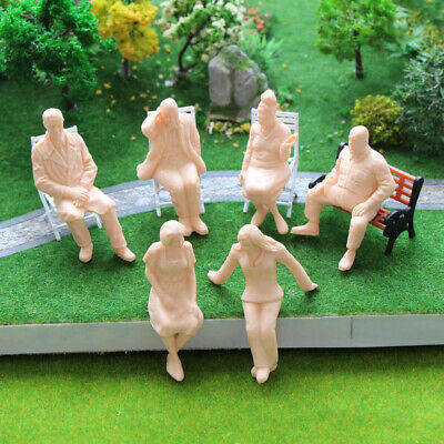 P2515 6pcs G scale Figures 1:25 All Seated Unpainted People Model Train Railway