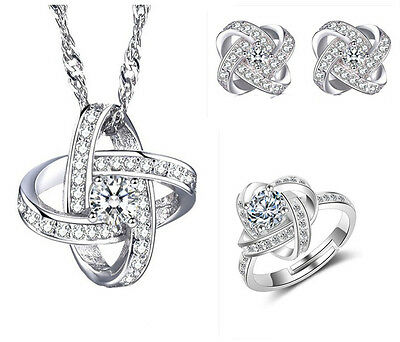 925 Silver Necklace Earrings Ring Set Charm Women Fashion Jewelry Gift