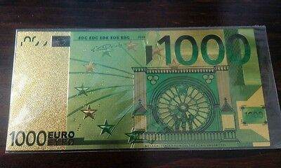 Colourized Latest 1000 EURO 24K Gold Plated Commemorative Collectors Banknote