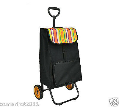 * Convenient Streak Pattern Two Wheels Collapsible Shopping Luggage Trolleys .