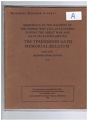 Cwgc War Book Memorial Dead Soldiers Ww1 Ypres France  (A)