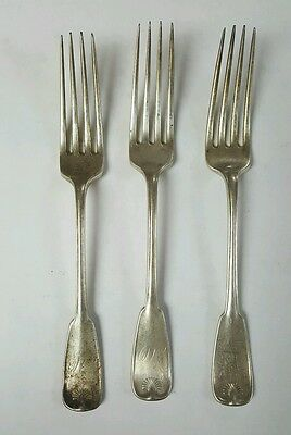 "3 Antique Tiffany & Co PALM 7"" Youth Sterling Silver Fork"