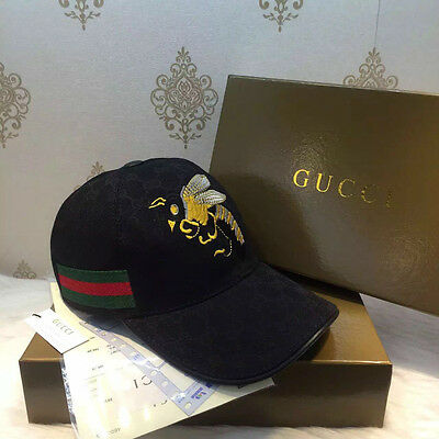 2017 New Black Gucci Hat Men's/women Embroidery Canvas Baseball Cap