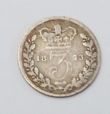 1873 - Silver - 3d Three Pence - Great Britain Queen Victoria - English UK Coin