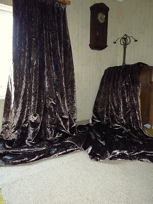 Fabulous Huge Pewter Mauve Crushed Silk Cotton Velvet Interlined Curtains