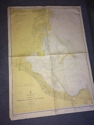 Vintage Coast Guard Map Plymouth, Kingston &Duxbury Harbors Mass Usa