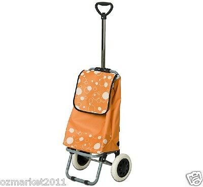 * Convenient Orange Pattern Two Wheel Collapsible Shopping Luggage Trolleys .