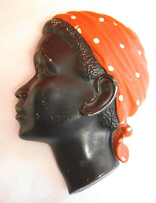 Retro 1950's Black African Lady Face Wall Plaque - Chalkware