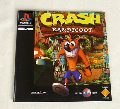 Ps1 Crash Bandicoot 1 Instruction Manual Only (no game or box) Excellent Cond.
