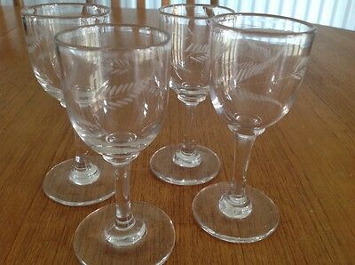 Antique Georgian/Victorian Blown & Etched Small Wine Glasses x 4