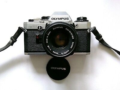 Olympus OM10 35mm SLR Film Camera with 50mm 1.8 Lens and Case