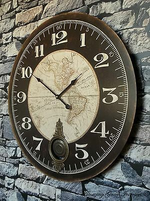 EXTRA LARGE 60cm ANTIQUE VINTAGE STYLE WALL CLOCK SHABBY CHIC NEW BOXED