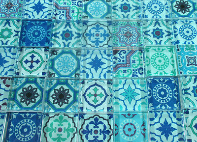 "Glass Mosaic Tiles - Blue Moroccan Medallions Mosaic Glass Tiles 1"" Squares"