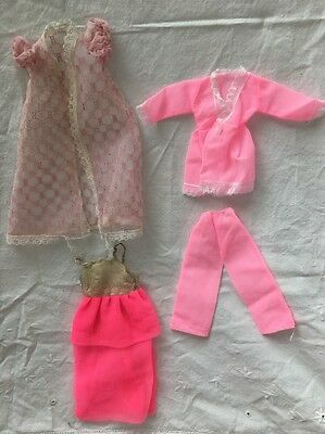 Vintage Knock Off Barbie Doll Clone Outfit PINK Pajamas Robe Gown Dress