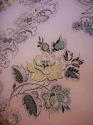 Vintage French Silk Brocade Floral Furnishing Fabric Remnant Piece 79 x 44 inch