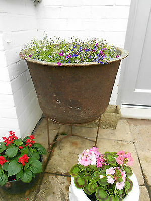 Antique Vintage Large Cast Iron Boiler / Copper / Planter And Stand Very Heavy